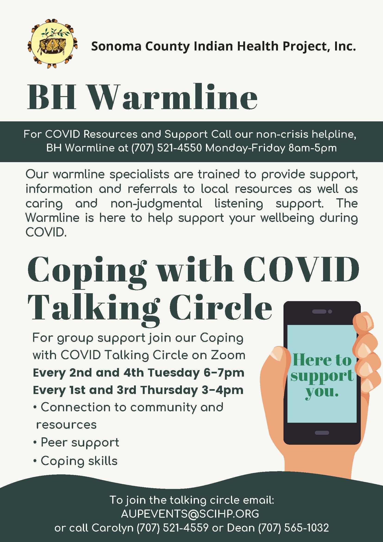 Warmline COVID talking Circle